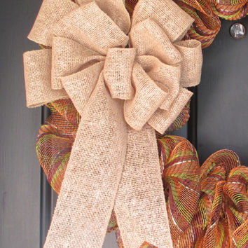 Faux Burlap Ribbon Bow, Wreath Change Out, Home Floral Wedding, Fall Thanksgiving Winter Christmas Holiday, Rustic Shabby Chic, Year Round