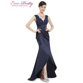 [Clearance Sale] Prom Dresses Ever Pretty HE08482NB Sexy Sleeveless Lace V-neck Navy Blue Floor Length Mermaid Prom Dresses