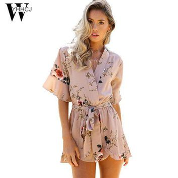 Wyhhcj 2017 Strapless V Neck Bodysuit Women Loose Flowers Rompers Womens Jumpsuit Combinaison Femme One Piece Beach Playsuit