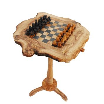 Unique Olive Wood Rustic Chess Table with natural edges, Wooden Exotic Wooden Chessboard, Birthday gift, Dad gift