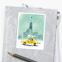 'A New York Christmas' Sticker by Holly Hatam