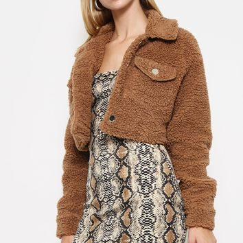 Baby Bear Cropped Teddy Jacket in Brown