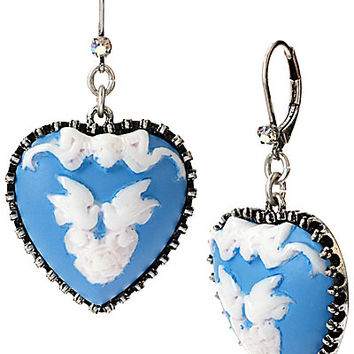 LADY LOCK HEART LOVE BIRDS DROP EARRINGS