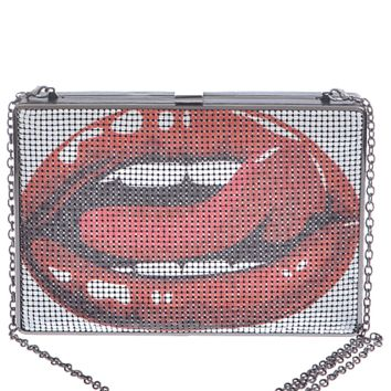 "Featuring a kissmark print on metal chainmail at front panel, box shape with open side pockets and a center zip pocket, solid black lining, snap lock closure, and finished with a curb link chain strap with an 23"" drop."
