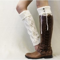 LW16 WONDERLAND in Cream, diamond pattern leg warmer-leg warmers-lace leg warmers-knit leg warmers-legwarmers-boot socks-lace boot socks-boot cuff socks- boot toppers-woman boot sock-women boot cuff sock-lacey socks-sock for boots boot socks