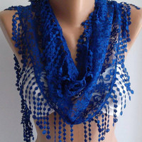 Cobalt / Elegance Shawl / Scarf with Lacy Edge by womann on Etsy