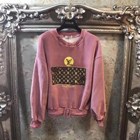 """Louis Vuitton"" Women Casual Fashion Embroidery Sequin Letter Pattern Print Long Sleeve Velvet Sweater Tops"