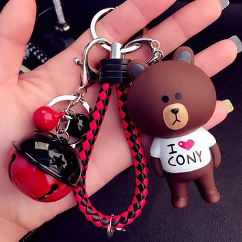 Cute Cartoon Little Bunny Rabbit Bear  Keychain Leather Rope Key Holder Metal Bell Key Chain Keyring Charm Bag Auto Pendant Gift