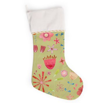 """Nic Squirrell """"Wild Meadow"""" Olive,Pink,Floral,Digital,Illistration,Red Christmas Stocking"""