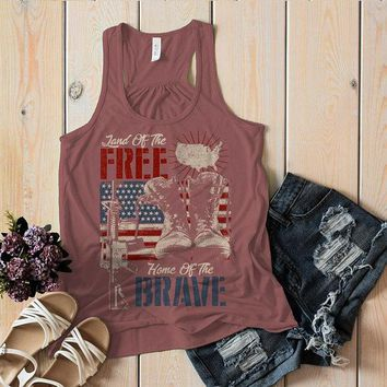 Women's 4th July Flowy Tank Land Free Home Brave Soldier Boots Tags American Flag Tanks Racerback