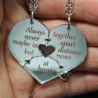 Friendship heart puzzle pendants 3 piece set Silver Mirror Acrylic Always together friend quote