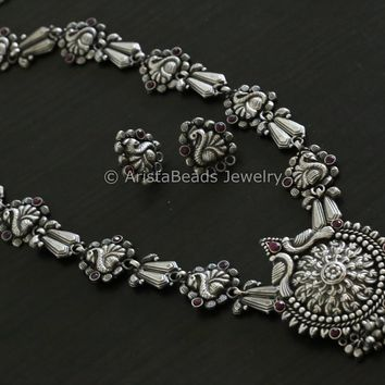 Silver Look Alike Peacock Necklace - Red
