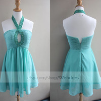 Handmade Sequins halter Keyhole Front Sexy Short Prom Dress/ Formal Cocktail Dress/ Party Dress/ Homecoming Dress