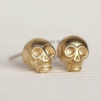 Skull Stud Earrings in Gold, Skeleton Ear Studs, 3D Skull, Creepy Cute