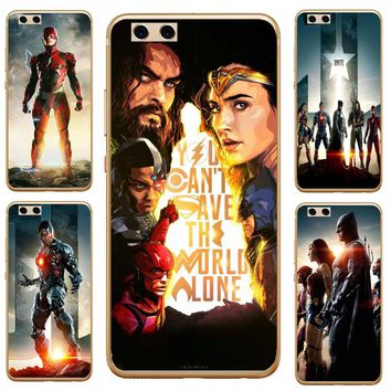 Case For Huawei P8 P9 P10 Plus P8 Lite 2017 Lovely Wonder Woman Black Series Mobile Phone Shell Patterned Style Soft TPU Cases