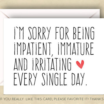 funny im sorry card apology card 55 x 425 inch a2 forgiv