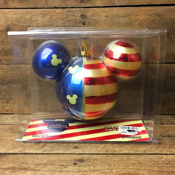 Rare Blown Glass American Flag Mickey Mouse Ornament - Disney Parks