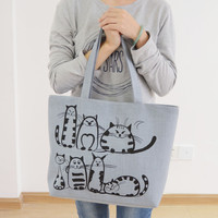 Famous Brands 2016 Cartoon Cats Printed Beach Zipper Bag Bolsa Feminina Canvas Tote Shopping Handbags sac a main femme de marque