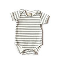 Organic Bodysuit Gray Stripes