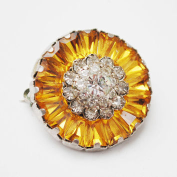 Sherman Brooch Orange  Yellow and Clear  Rhinestone Flower Pin