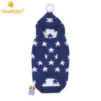 Pet Dog Clothes Autumn Winter Warm  Sweater Dog Hoodie With Stars Blue Red Color 5 Size S/M/L/XL/XXL Freeshipping 2016