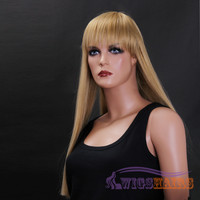 "24"" Long Straight with Bangs Synthetic Wigs for Women Basic Cap Blonde"