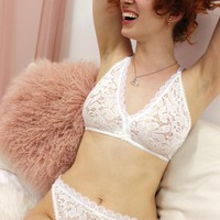 Editorial High Leg Lace Cheeky Panty in White Rose