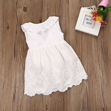 2017 Toddler Kids Baby Girls Lace Dress Princess Party Pageant Holiday Tutu White Bow O-Neck Sleeveless Dresses