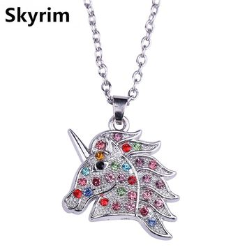 Skyrim Fairy Tale Colored Crystal Stone Unicorn Pendant Necklaces With Adjustable Sliver Link Chain Girl Jewelry For Kids' Gifts