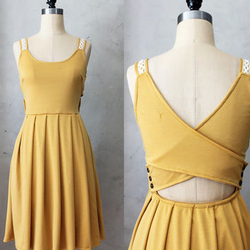 DERICA in MUSTARD - Jumper dress with pockets // crochet // stretch ponte // yellow // cut out // bridesmaid dress // pleated skirt // day
