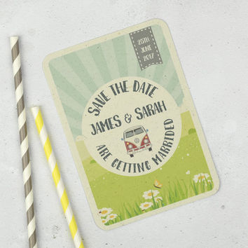 Save the Date - Save the Dates - Save the date cards - Vintage Wedding - Retro Wedding -  VW Campervan Wedding - Campervan