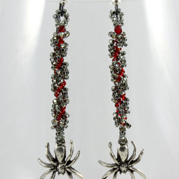 Spider Earrings Red Black Beaded Dangle Seed Bead Jewelry