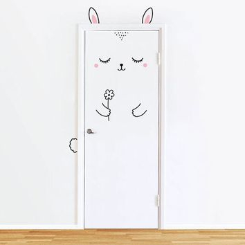 Sleepy Bunny Door Decal Wall Stickers For Kids Girl , Cat Door Wall Sticker For Baby Girl Bedroom Door or Wardrobe Cute Decor