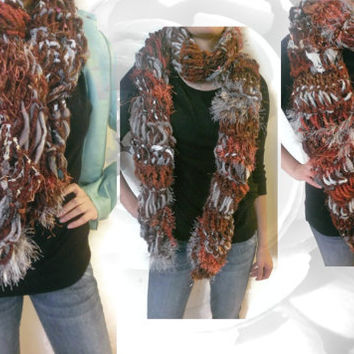 Handmade, Bohemian Scarf, Chunky Scarf, Multicolor Scarf, Winter Scarf, Brown Scarf, Gold Scarf, Red Scarf, Silver Scarf, Gray Scarf