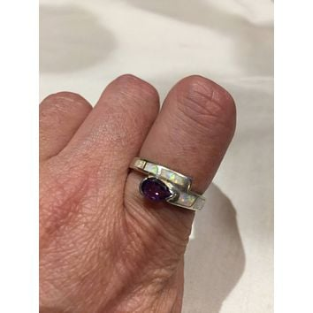 Vintage Handmade Genuine purple Amethyst and opal inlay setting 925 Sterling Silver gothic Ring
