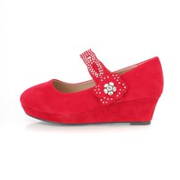 Red Rhinestone Strap Kids Mary Jane Wedges Faux Suede