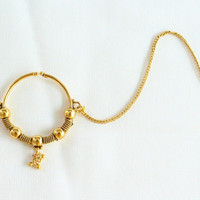 Gold Wedding Non Pierced Ear Nose Ring Chain