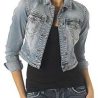 Silver Jeans Cropped Denim Jacket for Women LJ0002SAI221