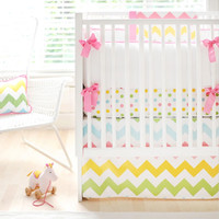 Rainbow Chevron Baby Bedding