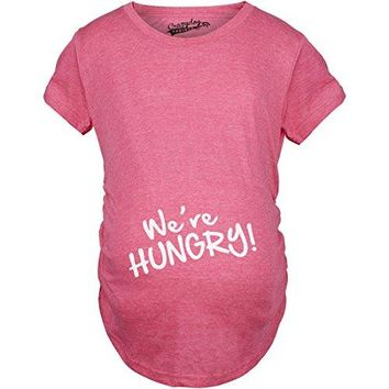 Crazy Dog TShirts Maternity Were Hungry Funny Baby Bump Pregnancy Announcement T Shirt