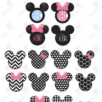 Mouse Ears svg png eps dxf cut files Mouse Ears Monogram Frames Vector Graphic Files Cricut file Silhouette file Die cut