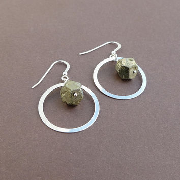 pyrite nugget and sterling hoop earrings