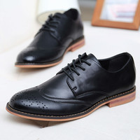 HOT!New 2014 Plus Size Leather Men's Shoes Business Formal Brogue Pointed Toe Carved Oxfords Vintage men's flats Shoes men LS057