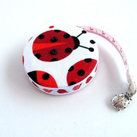 Gingham and Ladybugs Retractable Tape by AllAboutTheButtons on Zibbet