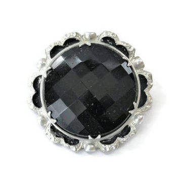 Black Faceted Brooch Pin With Scalloped Aluminum, Made In Germany