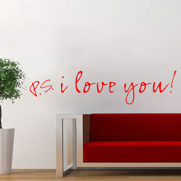 PS I Love You Quote Wall Decal Sticker Vinyl Art by Stickitthere