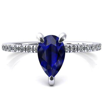 Mayeli Pear Blue Sapphire 3 Claw Prong Micro Pave Diamond Sides Engagement Ring