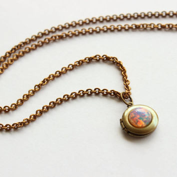 Opal Locket Necklace - Antique Brass, Vintage