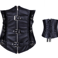 Black Leather Corset with Front Zipper and Belt Decor