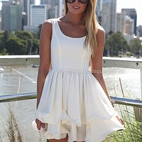 ELIXIR FRILL DRESS , DRESSES, TOPS, BOTTOMS, JACKETS & JUMPERS, ACCESSORIES, SALE, PRE ORDER, NEW ARRIVALS, PLAYSUIT, COLOUR, GIFT VOUCHER,,White,SLEEVELESS Australia, Queensland, Brisbane